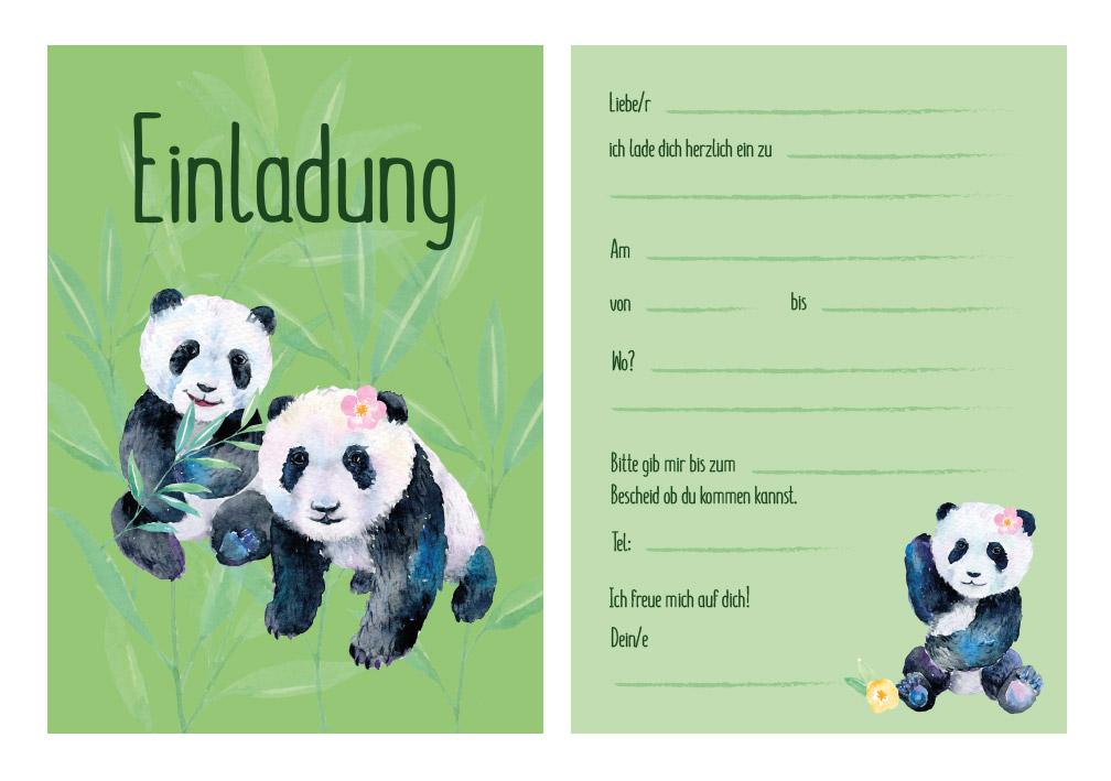Panda Einladungskarten